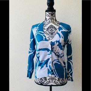 🎉 J.Crew 💯 cotton blue white v neck cardigan M